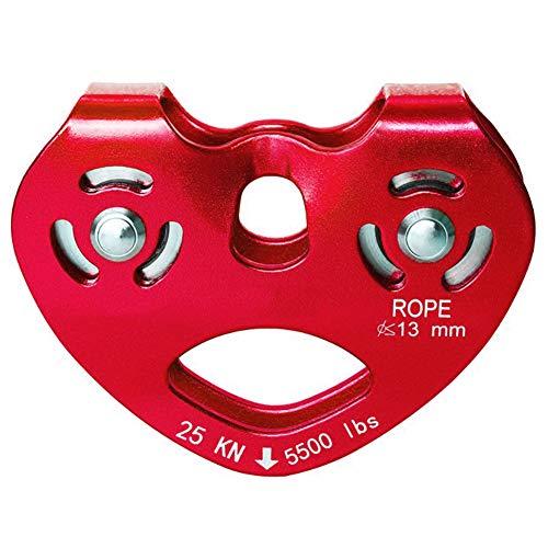 LAIABOR Seilrolle 25kN große Aluminium Twin Seilscheibe Klettern Rigging-Rettung Tandem Pulley Umlenkrolle Doppelseilrolle geeignet für Stahlseile 8-12 mm Ø und Textilseile bis 13 mm Ø,Rot