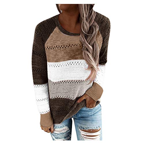 ESAILQ Bluse für Frauen, Mode Frauen Casual Patchwork O-Ausschnitt Langarm Pullover...