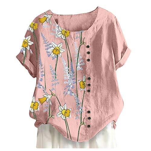 YANFANG Tops Sueltos De La Camisa ImpresiN Flor Manga Corta del Cuello Redondo Ocasional Verano Las Mujeres,Camisetas Estampadas para Mujer Blusa TNica Blusas,Rosa,Amarillo,Blanco
