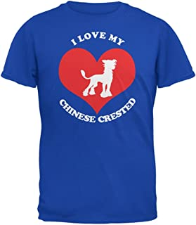 Animal World Valentines I Love My Chinese Crested Royal Adult T-Shirt