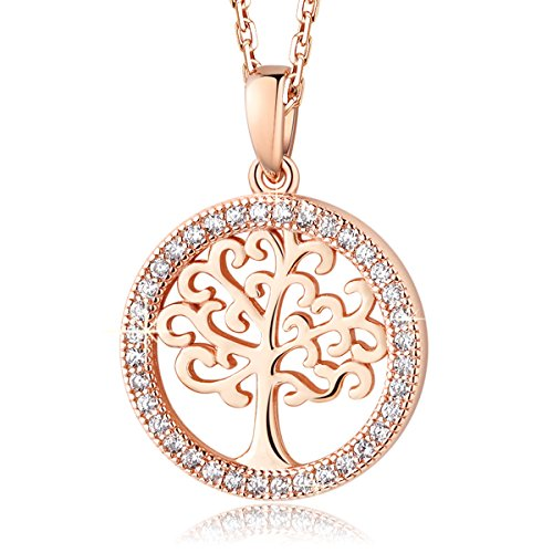 MEGA CREATIVE JEWELRY Women 925 Sterling Silver Tree of Life Crystals from Swarovski Pendant Necklace