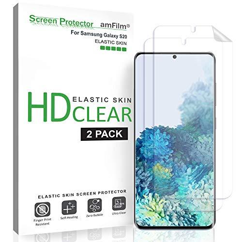 amFilm Screenprotector Beschermfolie voor Galaxy S20 (2 Stuks), Flexibel (Hoesvriendelijk) HD Helderheid Elastisch TPU Film Schermbeschermer met Gemakkelijke Aanbreng-Tool voor Samsung Galaxy S20