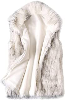 Vest Jacket for Women Plus Size Wool Faux Fur Stand Collar Coat