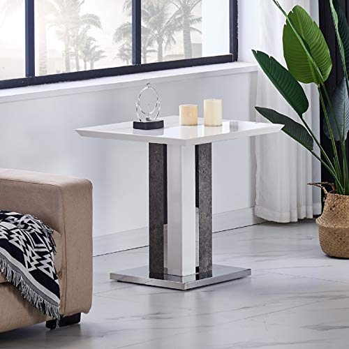 JYMTOM Coffee Table Side Table Marble Effect End Table Centre Table with Stainless Steel Base, Gray White High Gloss Living Room Furniture TLHHG0002A