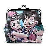 Dragon Ball Goku y Chi Chi Monedero Monedero Monederos Tarjetas de crédito Bolsa Kiss Lock Hebilla Exquisita Maquillaje Cambio de teléfono Celular Monederos de Cuero para Mujer Monederos Monederos