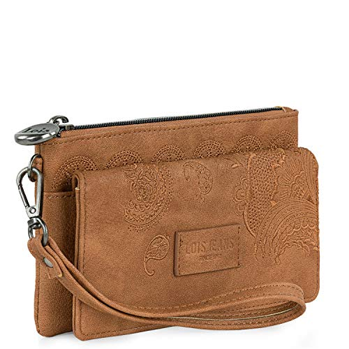 Lois - Woman Wallet with Hand Handle. Closing with Clasp. Printed linner. Exterior Purse with Zipper. Compartments for Cards and banknotes. 302620, Color Camel