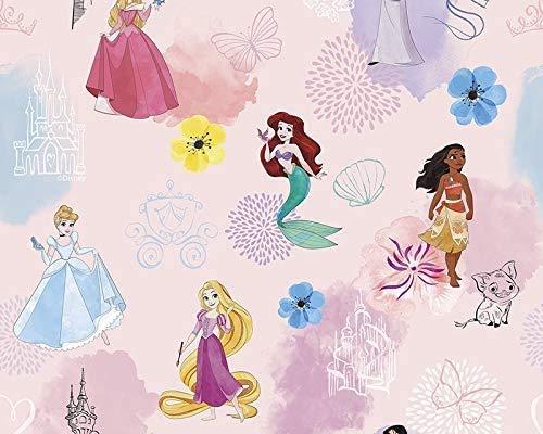 Little Johnny - Tela de algodón rosa sirena princesa de Disney - Cuarto de grasa (100% algodón, 115 g / m², 50 cm x 73 cm, tela con licencia original, ideal para hacer vestidos de niñas)