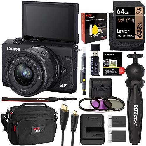 Canon EOS M200 EF-M 15-45mm is STM (Black) Mirrorless Camera, Lexar 64GB, Camera Bag, Tripod, Filter Kit, Lens Pen, and Cleaning Kit Bundle