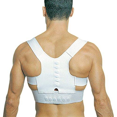 Sostegno posturale della schiena, correttivo, con terapia magnetica, per donna e uomo, taglia S/L, Bianco, Large