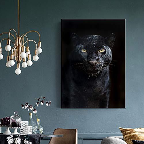 Animales Pantera Negra Cuadro sobre Lienzo para Pared Carteles nórdicos e Impresiones imágenes para decoración de Sala de Estar 60x90cm