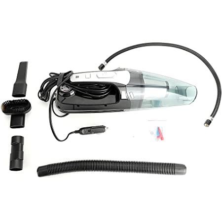Qiilu Car Vacuum Cleaner,12V Portable 2 in 1 Wireless Car Vacuum Cleaner Air Pump Wet Dry Dual-use Dust Catcher