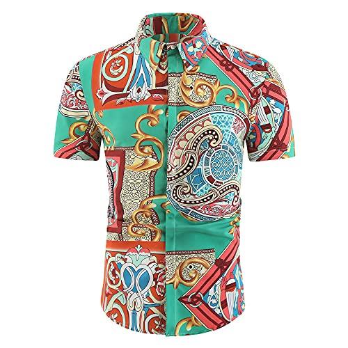 Playa Shirt Hombre Verano Básico Hombre Henley Camisa Personalidad Estampado Manga Corta Correr Shirt Botón Placket Deportiva Camisa Causales Vacaciones Hawaii Camisa B-02 3XL