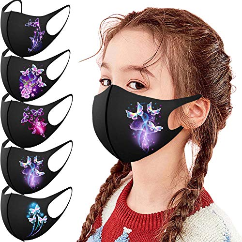777 5/10 Stück Kinder Schmetterling Gedruckt Mundschutz mit Motiv Gesichtsschutz Mund-Nasen-Schutz Staubschutz Wiederverwendbar Waschbar Atmungsaktiv Draussen