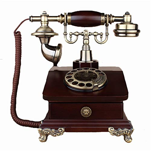 Teléfonos fijos Réplica de teléfono antiguo retro rotatorio del teléfono Teléfono Teléfono de la vendimia, rueda giratoria funcional clásico y teléfono Clásico Ornamento de la decoración de escritorio