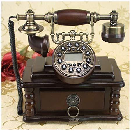 LDDZB Teléfono fijo estilo pastoral europeo antiguo retro vintage madera pura regalo para el hogar teléfono fijo cajón almacenamiento teléfono fijo (tamaño : B) (tamaño: B) (tamaño: A)