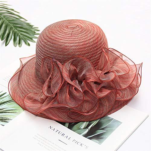 ZiWen Lu versione coreana del nuovo cappello di organza pizzo cappello bambini estate pieghevole grandi vasi lungo la spiaggia crema solare cappello, Organza, Rosso vinaccia, Regolabile