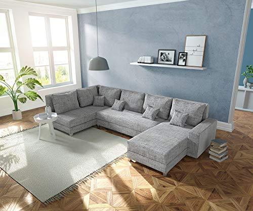 DELIFE Couch Panama Hellgrau Ottomane Links Longchair rechts Wohnlandschaft modular