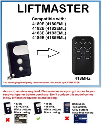 LIFTMASTER 4180E, 4182E, 4183E, 4185E compatibele afstandsbediening 418MHz.