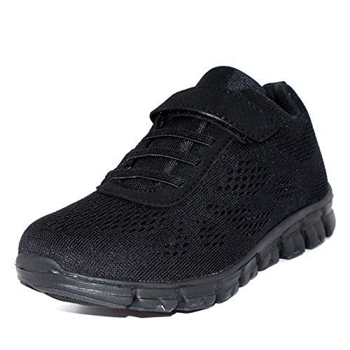 Lichtgewicht mesh wandelschoenen met veters voor kinderen, unisex voor kinderen, zwart/zwart - UK12 / EU31 - BS0140