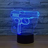 ZWANDP LED veilleuses 3D une forme de pistolet jouet 3D veilleuse tactile interrupteur 7 changement de couleur bébé sommeil lumière LED pour jouet GIF