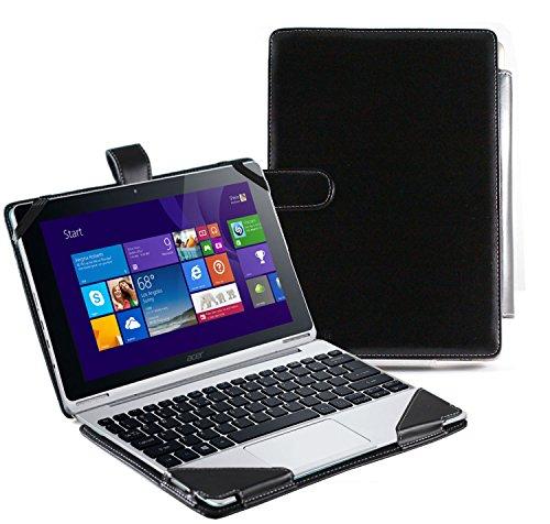 Navitech Schwarzes Leder Case Cover Tasche für das Acer Switch 10v