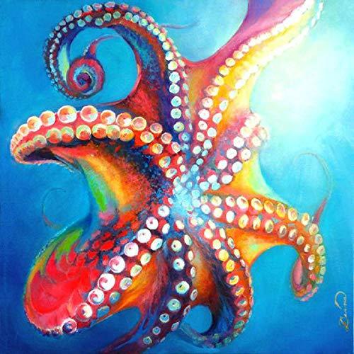 Diy Malen Nach Zahlen Kit Oktopus Tier 40X50Cm Erwachsene Kinder Anfänger Mit Pinsel Acryl-Pigment Leinwand Graffiti Malset Kreativ Geburtstags Geschenk