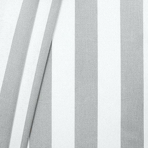 Markisenstoff Outdoorstoff Streifen Breite 160cm Meterware Hell-Grau Weiss