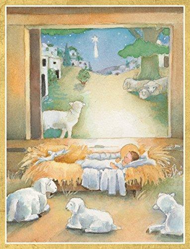 Entertaining with Caspari Sleep In Heavenly Peace Christmas Cards, Box of 16