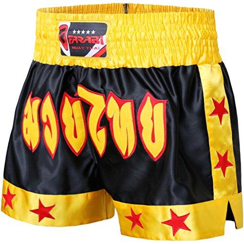 Farabi Combat Shorts zum Boxen, für MMA, Muay Thai, Kampfsport, Gymnastik, Training, BJJ, kurze Satin-Hose, Schwarz / Rot / Blau, für Cage Fighting, Grappling, Sparring, Kickboxen