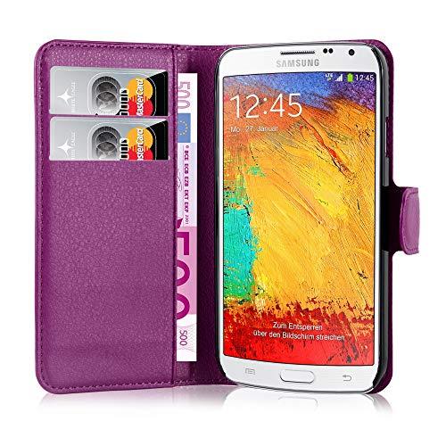 Cadorabo Hülle kompatibel mit Samsung Galaxy Note 3 NEO Hülle in Mangan VIOLETT Handyhülle mit Kartenfach & Standfunktion Schutzhülle Etui Tasche