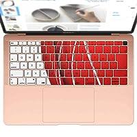 igsticker MacBook Air 13inch 2018 専用 キーボード用スキンシール キートップ ステッカー A1932 Apple マックブック エア ノートパソコン アクセサリー 保護 003385 チェック・ボーダー ラグジュアリー シンプル 赤 白
