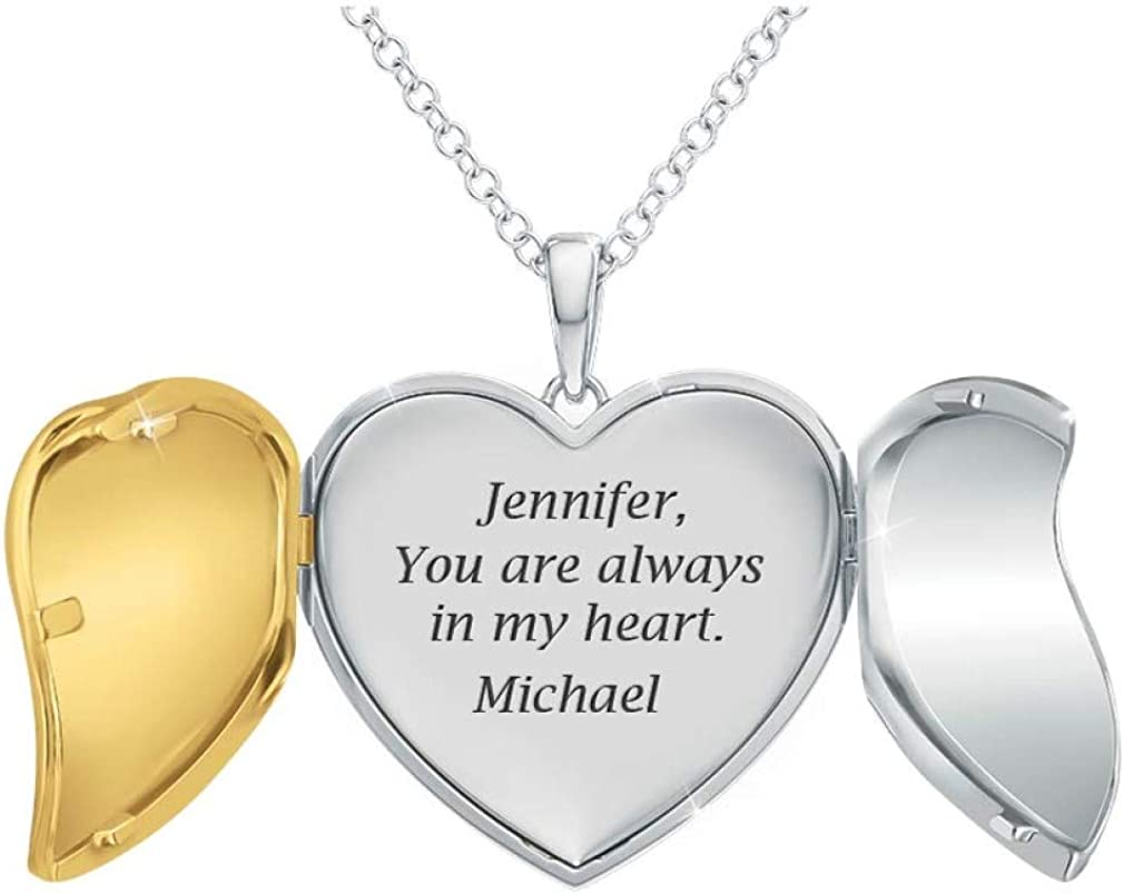 """""""You Are Always In My Heart"""" Personalized Locket Pendant – Locket Necklaces for Women – Romantic Jewelry Gifts #5712-003"""