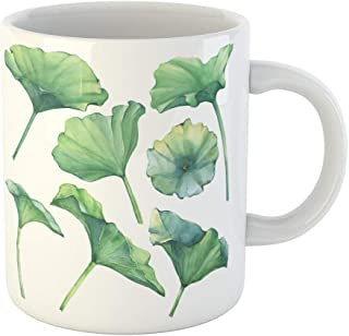 Semtomn Funny Coffee Mug Green Lotus Leaves Water Lily Indian Sacred Egyptian Watercolor 11 Oz Ceramic Coffee Mugs Tea Cup Best Gift Or Souvenir