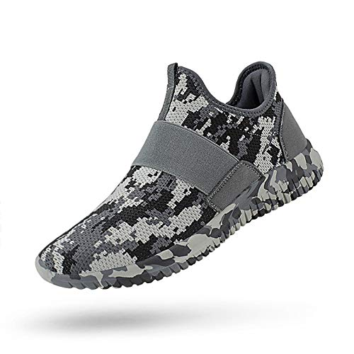 QANSI Mens Slip on Sneakers Lightweight Comfortable Athletic Sports Running Shoes Cycling Gym Tennis Shoes Camouflage Gray 9.5