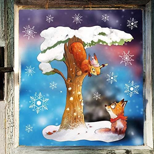 Wandtattoo Loft Fensterbild Weihnachten Winter Eichhörnchen mit Fuchs Baum – Wiederverwendbare Fensteraufkleber