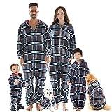 HORSE SECRET Pijama Hombre Mujer, Pijama en Tejido Franela Polar Suave y cómodo para Toda la Familia, excelente para Invierno, Azul Cuadros - Bebé, 0 - 9 Meses (0 - 9 kg)