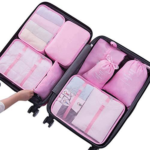 Belsmi Reise Kleidertaschen Set 8-teilig Reisetasche in Koffer Reisegepäck Organizer Kompression Taschen Kofferorganizer Mit Schuhbeutel...