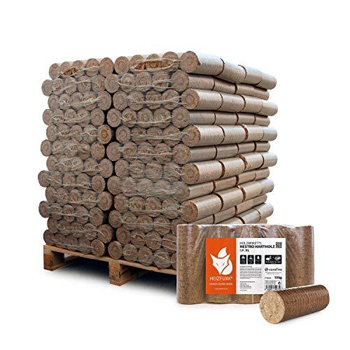 HEIZFUXX Holzbriketts Hartholz Nestro XL Kamin Ofen Brenn Holz Heiz Brikett 10kg x 96 Gebinde 960kg / 1 Palette Paligo
