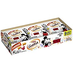 Includes: Nine 0.75-ounce packs of Goldfish Cheddar Crackers, special edition with Disney's Mickey Mouse Baked with real cheese: Always made with 100% real cheddar cheese and no artificial flavors or preservatives Colors sourced from plants: Pepperid...