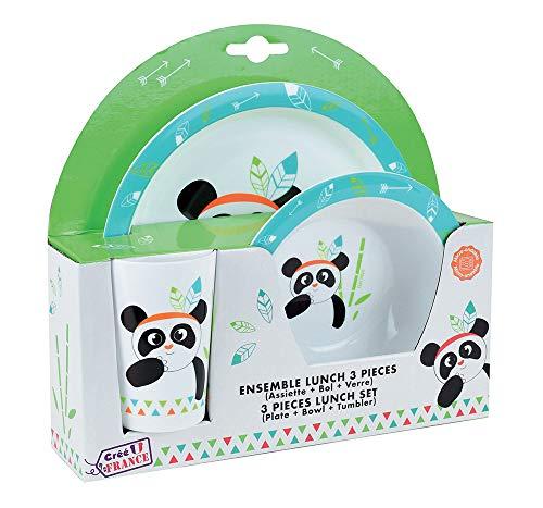 FUN HOUSE 005672 Indian Panda Ensemble Repas Micro-ondable Comprenant 1 Assiette, 1 Bol et 1 Verre pour Enfant