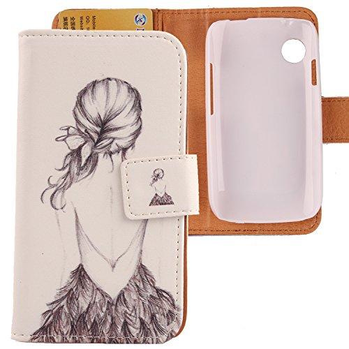 Lankashi PU Flip Leder Tasche Hülle Hülle Cover Schutz Handy Etui Skin Für Wiko Ozzy Back Girl Design