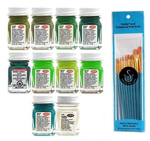 Testors Green Enamel Paint Variety, Green, Flat Green, Flat Beret Green, Metal Flake Green, Fluorescent Green, Sublime Green, Bright Lime, Teal, Flat Army Olive, and Thinner, 1/4 oz (Pack of 10) - with Spice of Life Paintbrushes