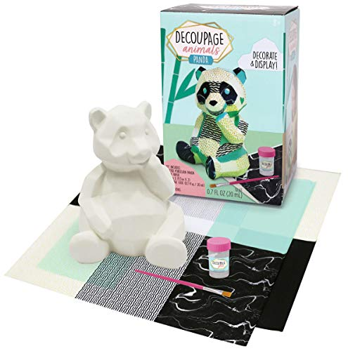 Bright Stripes Decoupage Animals Panda Craft Kit - Complete Kids Craft Kits with Decoupage Paper Glue and Brush - Panda DIY Craft Kit for Girls and Boys
