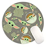 CoKi Cute Cartoon PU Leather Baby Yo-Da Boba Fett Round Gaming Mouse Pad with Base Waterproof Desk Writing Mat for Computer, Laptop, Home, Office,Travel
