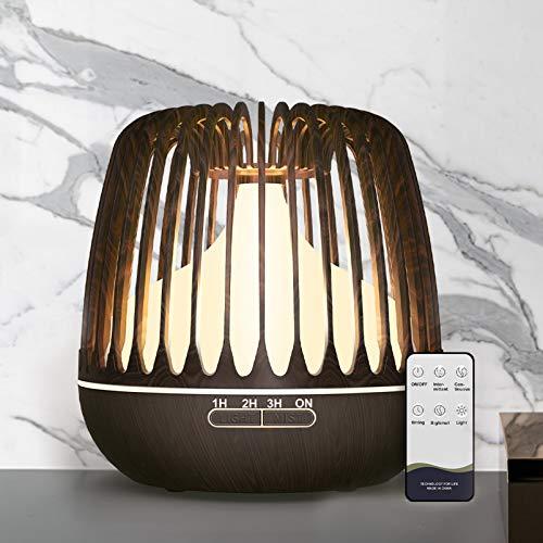 500ml Aroma Diffuser für ätherische öle, BPA-Free Ultraschall Diffuser Luftbefeuchter mit Fernbedienung und Timer, Holzmaserung Duftlampe Elektrisch mit 7 Farben LED für Wohnzimme Schlafzimmer Yoga