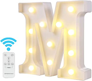 Youzone Newly Upgrade LED Marquee Letter Lights Alphabet Light Up Letters with Remote Control Timer Dimmable for Events Wedding Party Birthday Home Bar Decoration (M)
