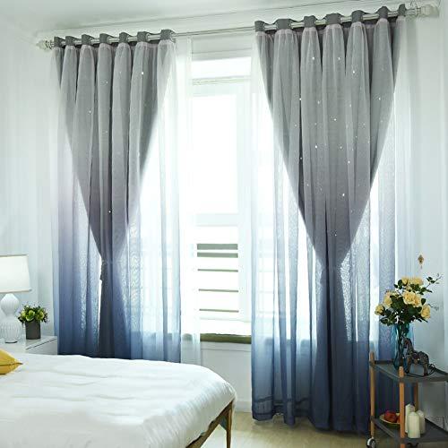 XGXQBS verduisteringsgordijnen met voile woonkamer slaapkamer Drappi oogschaduw 1 stuk 250x260cm(98x102inch) Grijs