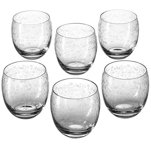 Leonardo Chateau Trink-Glas, Glas-Becher mit floralem Muster, spülmaschinenfeste Wasser-Gläser, 6er Set, 400 ml, 061595