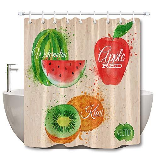 Wassermelone Apfel Kiwi mühelosDuschvorhang Badezimmer Vorhang Dekoration wasserdichter Stoff