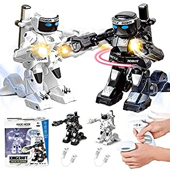 dulcii RC Battle Boxing Robot/Toys Remote Control 2.4G Humanoid Fighting Robot Two Control Joysticks Real Boxing Fight Experience  Black & White